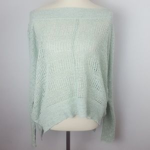 Free People Open Weave Ment Green Slouch Sweater